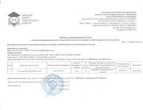Выписка из протокола аттестационной комиссии